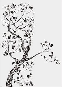 дерево с цветами № 4085
