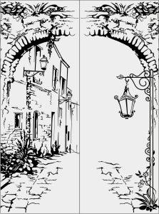 Stare miasto i latarnia, wektor do cięcia ploterem.