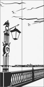 ilustracja z latarniami ulicznymi w pobliżu ogrodzeń.