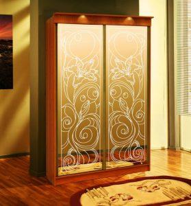 Пескоструйный рисунок лилия двухдверый шкаф